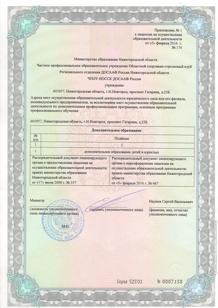 приложение к лицензии тира