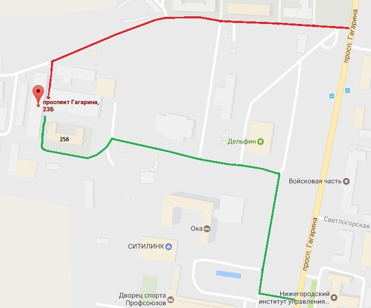 Схема проезда до тира в Нижнем Новгороде